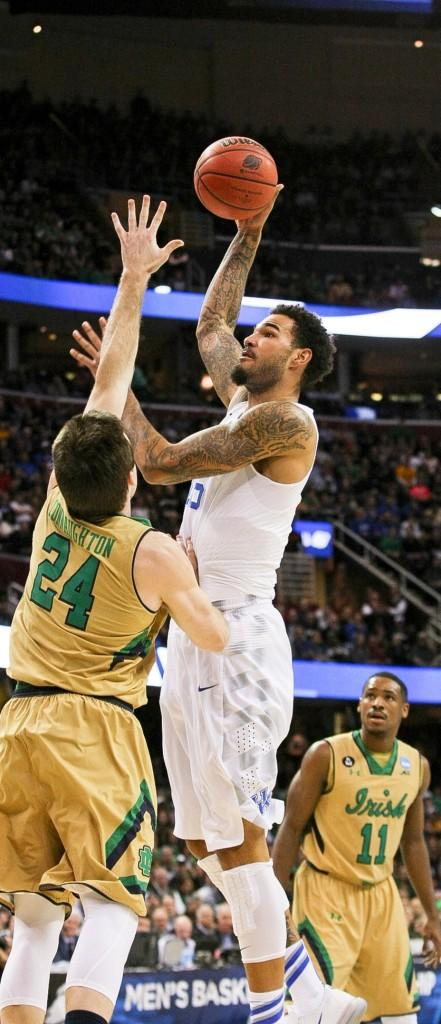 PHOTO COURTESY OF JONATHAN KRUEGER, THE KENTUCKY KERNEL Willie Cauley-Stein of the Kentucky Wildcats shoots over the Notre Dame defense Mar. 28.