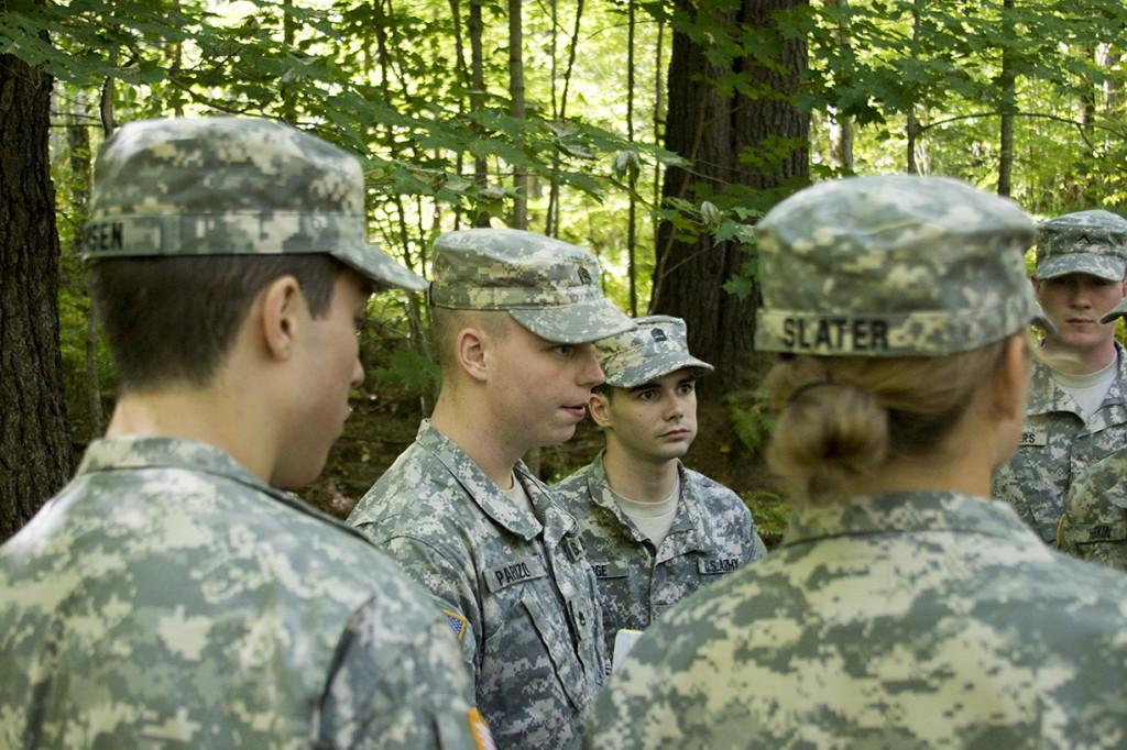 ROTC cadets strategize during a team-building exercise during the first day of training at Fort Ethan Allen in Jericho, Vt. Sept. 26. During the weekend of training, students gained skills with weapons, squad tactics and more.