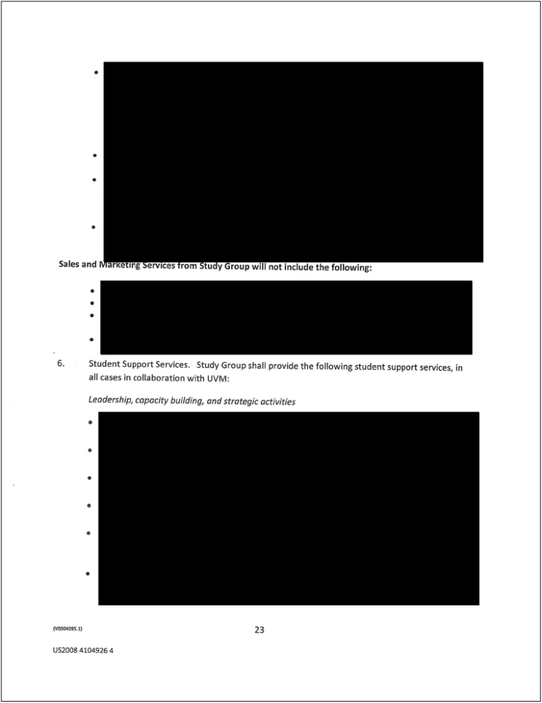 A page from the Study Group contract. Click on this image to view the entire contract.