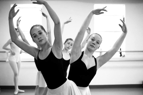 "(Front to Back) Vermont Ballet Theater School dancers Allie Zouck, Katherine Lawton and Amy Katz rehearse for the troupe's performance of ""The Nutcracker."""