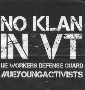 A solidarity march was held to stand with the Burlington resi- dents who found Ku Klux Klan fliers on their doors Oct. 31. The march led by Burlington resident Vicki Garrison. FLIER COURTESY OF UE WORKERS DEFENSE GUARD