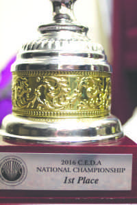 The trophy for the Cross examination debate association National debate competition.