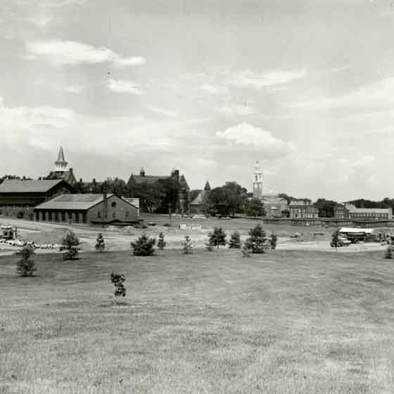 Central campus in the 1960s, before many of the academic buildings there today were built.